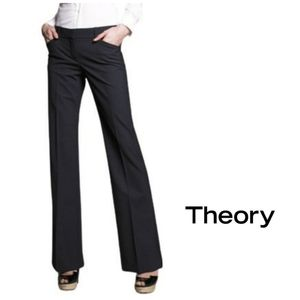 THEORY Max C Sailor Wool Trousers Pants Black